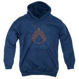 Aquaman Movie Aqua Paisley Youth Pullover Hoodie Sweatshirt Navy