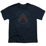 Aquaman Movie Aqua Paisley Youth T-Shirt Navy