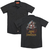 Army of Darkness Bloody Poster (Back Print) Adult Work Shirt Black