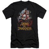Army of Darkness Bloody Poster Premium Canvas Adult Slim Fit 30/1 T-Shirt Black