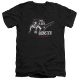 Army of Darkness Boomstick Adult V-Neck T-Shirt Black
