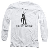 Army of Darkness Boomstick Adult Long Sleeve T-Shirt White