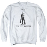 Army of Darkness Boomstick Adult Crewneck Sweatshirt White