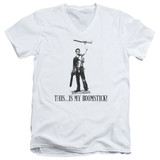 Army of Darkness Boomstick Adult V-Neck T-Shirt White