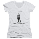 Army of Darkness Boomstick Junior Women's V-Neck T-Shirt White