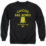 Bad News Bears Chico's Bail Bonds Adult Crewneck Sweatshirt Black