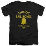 Bad News Bears Chico's Bail Bonds Adult V-Neck T-Shirt Black