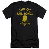 Bad News Bears Chico's Bail Bonds Premuim Canvas Adult Slim Fit 30/1 T-Shirt Black