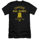 Bad News Bears Chico's Bail Bonds Adult 30/1 T-Shirt Black