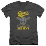 Bad News Bears Always Bad News Adult V-Neck T-Shirt Charcoal