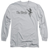 The Birds Distressed Adult Long Sleeve T-Shirt Silver