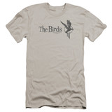 The Birds Distressed Premuim Canvas Adult Slim Fit T-Shirt Silver