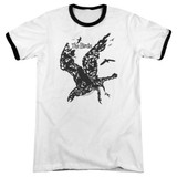 The Birds Title Adult Ringer T-Shirt White/Black