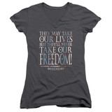Braveheart Freedom Junior Women's V-Neck T-Shirt Charcoal