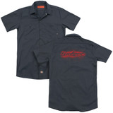 Bloodsport Blood Splatter (Back Print) Adult Work Shirt Charcoal