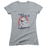 Bloodsport Death Touch Junior Women's V-Neck T-Shirt Athletic Heather