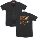 Bloodsport Action Packed (Back Print) Adult Work Shirt Black