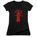 Carrie Silhouette Junior Women's V-Neck T-Shirt Black