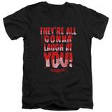 Carrie Laugh At You Adult V-Neck T-Shirt Black