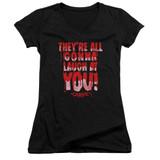 Carrie Laugh At You Junior Women's V-Neck T-Shirt Black