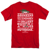 Christmas Vacation Jolliest Bunch Adult 18/1 T-Shirt Red