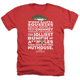 Christmas Vacation Jolliest Bunch Adult Heather T-Shirt Red
