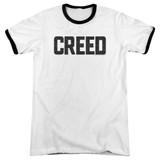 Creed Cracked Logo Adult Ringer T-Shirt White/Black