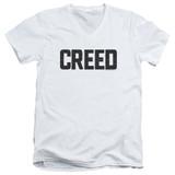 Creed Cracked Logo Adult V-Neck T-Shirt White