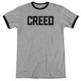 Creed Cracked Logo Adult Ringer T-Shirt Heather/Black