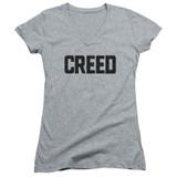 Creed Cracked Logo Junior Women's V-Neck T-Shirt Athletic Heather