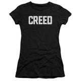 Creed Cracked Logo Junior Women's Sheer T-Shirt Black