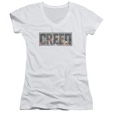 Creed Pep Talk Junior Women's V-Neck T-Shirt White