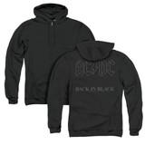 AC/DC Back In Black (Back Print) Adult Zip Hoodie Sweatshirt Black