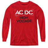 AC/DC High Voltage Stencil Youth Long Sleeve T-Shirt Red