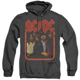AC/DC Group Distressed Adult Heather Pullover Hoodie Sweatshirt Black