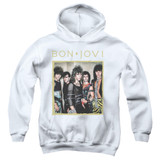 Bon Jovi Framed Youth Pullover Hoodie Sweatshirt White
