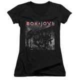 Bon Jovi Slippery Cover Junior Women's V-Neck T-Shirt Black