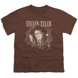 Steven Tyler Aerosmith Flourish Circle Youth T-Shirt Coffee