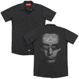 Steve Vai Vai Head (Back Print) Adult Work Shirt Black