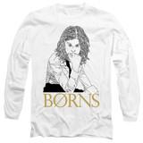 Borns Outline Adult Long Sleeve T-Shirt White