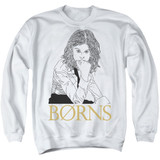 Borns Outline Adult Crewneck Sweatshirt White