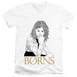 Borns Outline Adult V-Neck T-Shirt White