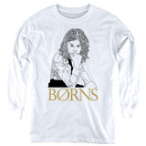 Borns Outline Youth Long Sleeve T-Shirt White