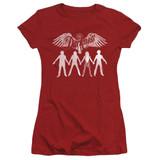 The Darkness Join Hands Junior Women's Sheer T-Shirt Cardinal