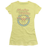 Wonder Woman Faded Wonder Junior Women's Sheer Original T-Shirt Banana