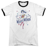 Wonder Woman Wonder Stars Adult Ringer Original T-Shirt White/Black