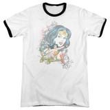 Wonder Woman Wonder Scroll Adult Ringer Original T-Shirt White/Black