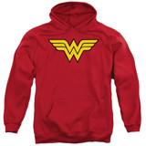 Wonder Woman Logo Adult Pullover Hoodie Sweatshirt Red