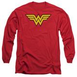 Wonder Woman Logo Adult Long Sleeve Original T-Shirt Red
