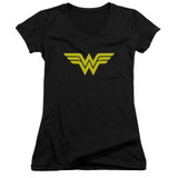 Wonder Woman Logo Junior Women's V-Neck Original T-Shirt Black